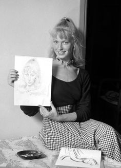 """'Sylvette David with a Portrait Drawing from Picasso's """"Sylvette"""" Series', 1954"""