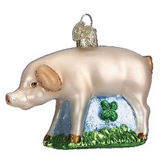 "St Patrick's Day - good luck Symbols: Pigs are considered to bring good luck and prosperity. In Germany, the word ""dickbauch"" means fat stomach, and it is often heard in December. According to tradition, you should eat well on Christmas Eve to avoid being haunted that night and to insure luck and prosperity in the New Year.  See more ornaments that represent good luck at www.trendytree.com"