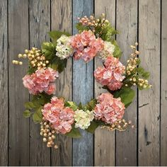 """August Grove® Beautiful and lush hydrangea wreath, perfect for your front door or in any room. 
