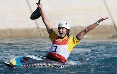 Thrill of victory:   Bronze medal winner Jessica   Fox, of Australia, celebrates after the kayak K1 women's final of the canoe slalom Aug. 11.