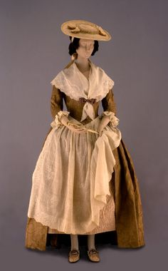 Women's Gown with apron, ruffled sleeves, and hat. ca. 1740-1785. England/Europe.