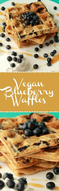 Vegan Blueberry Waffles. Delicious for breakfast with whipped coconut cream, fresh blueberries and maple syrup! Vegan Breakfast | Vegan Waffles | Vegan Recipes | Vegan Dessert | Vegan Food