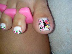 Resultado de imagen para catalogo de decoracion de uñas masglo gratis Nail Polish Art, Toe Nail Art, Toe Nails, Cute Pedicure Designs, Toe Nail Designs, Pretty Toes, Pretty Nails, Nailart, Cute Pedicures