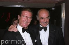 Former James Bond stars Roger Moore, left, and Sean Connery at the BAFTA Tribute to Connery at London's Leicester Square Odeon.