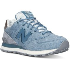 New Balance Women's 574 Heathered Casual Sneakers from Finish Line ($80) ❤ liked on Polyvore featuring shoes, new balance shoes, breathable shoes, shock absorbing shoes, shock absorbing tennis shoes and tennis shoes