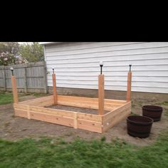 A raised vegetable garden that I built   Today. I just need to add dirt and plants :)