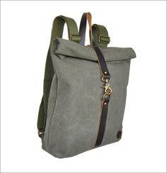 MADE IN GREECE BURBAN-SERRES τσαντες με καραβοπανο απο οικολογικο βαμβακι και δερμα κατασκευασμενες στη Μακεδονια Cotton Canvas, Mustard, Backpacks, Pocket, Zip, Leather, Handmade, Bags, Accessories