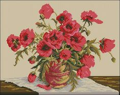 """Floral cross-stitch design """"Symphony of Poppies"""""""