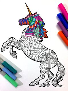 Unicorn - PDF Zentangle Coloring Page