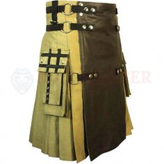 Fashion Tactical Hybrid Kilt is the most famous kilt for adventurous men groups, its perfect combination of cotton and leather gives it different tactical kilt look for hiking man and tactical men's. Color contrast and combination is attention chaser. Leather Kilt, Leather Apron, Leather Jackets, Scottish Clothing, Scottish Kilts, Tactical Kilt, Cheap Kilts, Kilt Shop, Kilts For Sale