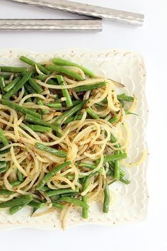 Potato Noodle and Green Bean Salad with Chive-Dijon Vinaigrette.  Potatoes are cooked after spiralizing ... sounds so good.