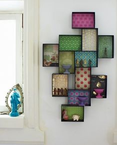 Shoe boxes with paper, stuck together with double sided tape and stuck in the wall. Eclectic Living Room by Joanna Thornhill Interiors - Decoration Organization Craft Room Shelves, Craft Paper Storage, Toy Storage Boxes, Wall Storage, Diy Storage, Storage Ideas, Craft Rooms, Lego Storage, Book Shelves