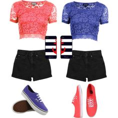 Best Friend Matching Outfits (Left)Peach Flower Crop Top With Black Shorts And Blue Vans (Right)Blue Flower Crop Top With Black Shorts And Peach Vans Cute Outfits For School, Outfits For Teens, Summer Outfits, Best Friend Outfits, Best Friend Shirts, Matching Outfits Best Friend, Twin Outfits, Girl Outfits, Fashion Outfits