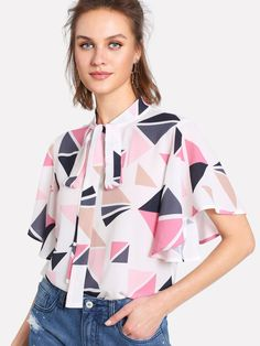 e8f81452a9263 Tie Neck Geometric Print Flutter Sleeve Top -SheIn(Sheinside) Flutter Sleeve  Top