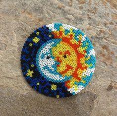 Sun & Moon hama beads by dearrobin_ Perler Bead Designs, Easy Perler Bead Patterns, Perler Bead Templates, Hama Beads Design, Diy Perler Beads, Perler Bead Art, Pearler Beads, Fuse Beads, Melted Bead Crafts