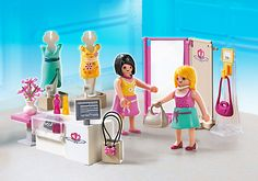 Playmobil set of clothes shop with 2 figures. Everything fits nicely in the little suitcase it comes with for easy storage.