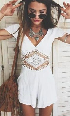 #summer #outfits / Crochet Playsuit