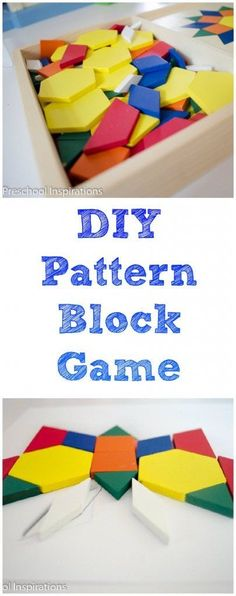 Teach children math and matching skills in this game where you can design your own template. DIY Pattern Block Game by Preschool Inspirations