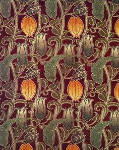 By C.F.A Voysey, a leading Art & Craft Movement designer and architect influenced by the Art Nouveau Movement. He is well known for his designs for fabrics, wallpaper, furniture and stained glass. As an architect he also designed many country houses.