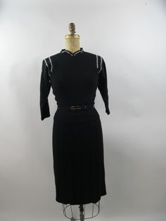 dcb2ee4a41 1940s Black Wool Knit Pullover Sweater and Skirt Set