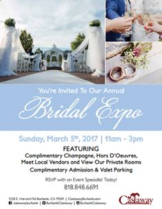 Are you planning your big day? If so, you should certainly attend the annual Bridal Expo - You're Invited!  WHEN: March 5th, 2017 - 11:00 AM - 3:00 PM WHERE: 1250 E. Harvard Rd Burbank, CA 91501 RSVP today with an Event Specialist: (818) 848-6691 https://www.castawayburbank.com/blog/post/bridal-expo--youre-invited--11am3pm  #bridalshow #wedding #weddingplanner #californiawedding #burbankwedding #losangeleswedding #rosepetalevents