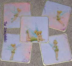 Set of 5 Disney Tinkerbell Fairy Character Wooden Coasters Fairies