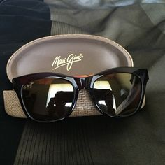 Brand new, new style Maui Jim sunglasses Brand new Maui Jim sunglasses Sweet Leilani in color root beer.  Just released style. Comes with case, bag and box. Never used. Polarized with a back side anti-reflective coating. Maui Jim Accessories Sunglasses