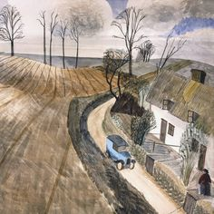 Edward Bawden for Fortnum & Mason illustration Landscape Paintings, Landscapes, British Artists, Light Painting, Watercolour Painting, Pattern Art, Interesting Stuff, Printmaking, Artworks