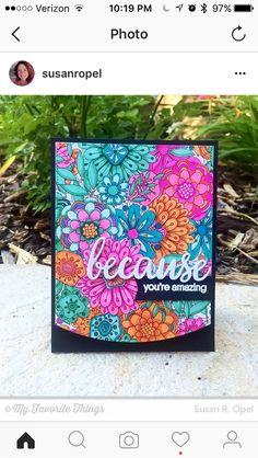 MFT Bundles of Blossoms; emboss resist; watercolor; Copic; word die; blues purples pinks orange