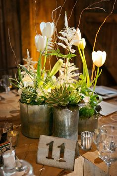 Lush Tulip and Greenery-Filled Centerpieces