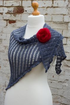 Helda Panagary's Diana shawl, made with DyeForWool's Baby Alpaca & Silk lace weight yarn in Stormy Grey Sea.  Commission crochet piece for Patricia