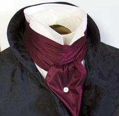 REGENCY SCARF Victorian Style Ascot Tie Cravat � Maroon Wine Dupioni Silk - 6 inch width