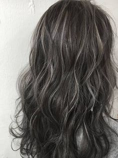Gray Lace Frontal Wigs white and green hair – wigsshort - All For Hair Color Balayage Balayage Hair, Ombre Hair, Grey Hair Inspiration, Dark Hair With Highlights, Brown Blonde Hair, Aesthetic Hair, Silky Hair, Green Hair, Dyed Hair