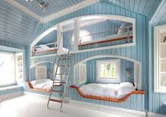 Awesome bunk beds. (Another idea for couch surfer, woofer, etc, accommodation.)