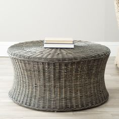 @Overstock.com - Safavieh Ruxton Dark Brown Wicker Ottoman - This brown wicker ottoman features a solid wood frame with a cinched middle, perfect for propping up your feet after a long day or displaying odds and ends. This elegant design adds a relaxed vibe to any living room, patio, or sun room.   http://www.overstock.com/Home-Garden/Safavieh-Ruxton-Dark-Brown-Wicker-Ottoman/7388301/product.html?CID=214117 $176.99