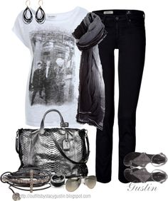 """""""black, white and gray"""" by stacy-gustin ❤ liked on Polyvore"""