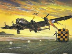RAF Lancaster - returning home :: Airfix model kit art, Illustrated by Roy Cross