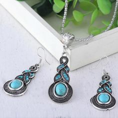 Turquoise pendant and drop earring set