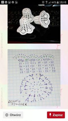 Witam:) To co wczoraj zobaczyłam na swojej tablicy na FB S - SalvabraniCrochet Patterns Christmas Photo only. No pattern - Salvabrani - SalvabraniAnges au crochet Plus - SalvabraniCrochet Bell About tall with threadLearning to knit crochet bells on Crochet Christmas Decorations, Crochet Christmas Ornaments, Crochet Decoration, Christmas Crochet Patterns, Crochet Snowflakes, Diy Christmas, Crochet Motifs, Crochet Diagram, Thread Crochet