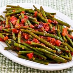 Kalyn's Kitchen®: Recipe for Braised Green Beans with Garlic, Tomatoes, Olives, and Capers  [#SouthBeachDiet friendly #Recipe from Kalyn's Kitchen]