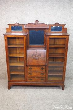 Rare Antique Folding Adjustable Wooden Book Shelf With Carved Floral Decoration Bookcases