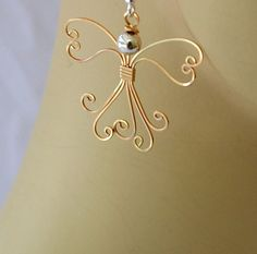Wire wrapped Angel earrings. 14K gold filled by Untwistedsister
