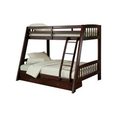 Twin over Full Bunk Bed with Ladder and Storage Drawers in Espresso Wood Finish