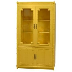 And bright yellow bamboo Furniture Makeover, Furniture Decor, Painted Furniture, Furniture Refinishing, Furniture Vintage, Funky Furniture, Furniture Storage, Bamboo Cabinets, Wooden Cabinets