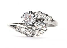 vintage two stone engagement rings
