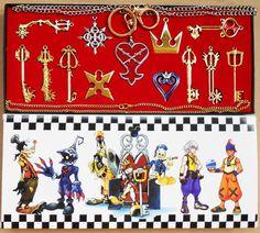 13pcs/lot Kingdom Hearts Cosplay Necklace Sora Keyblade Keychain Metal Figure Toy Pendants approx 3 - 5.5cm