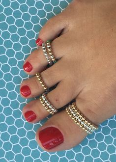 Sweet Simplicity Mix and Match Big Toe Rings And Toe Rings with 14k Gold-Filled or Sterling Silver Beads by DesignedByMollyBee on Etsy