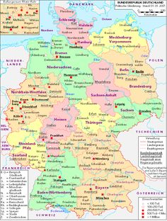 Modern map of Germany Know where your German ancestors are from Clicking through this map on the Wiki page will help you explore and local churches that might have their. Genealogy Websites, Genealogy Research, Family Genealogy, Family Tree Chart, German Grammar, Empire Romain, German Language Learning, Family Research, Learn German