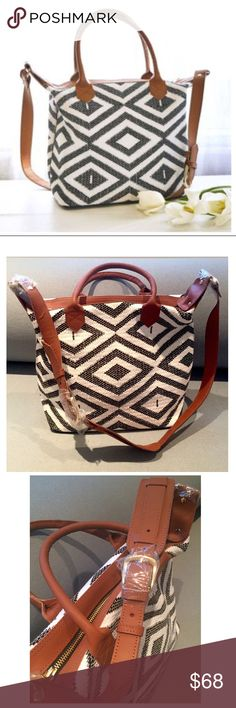 Tribe Alive Rachel Zoe Diamond Tote Crossbody Bag Add a graphic punch w/ this chevron diamond tote satchel/shoulder bag by Tribe Alive! Featured in Rachel Zoe's 2017 Box of Style. NWT. RV $238. Artisan made in India of 100% foot-loomed cotton. Diamond wea