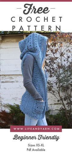 Winnie Hooded Vest Free Crochet Pattern for Beginners - Life and Yarn - Knit . Winnie Hooded Vest Free crochet pattern for beginners - life and yarn - knitting is as easy as 3 knitting comes do. Gilet Crochet, Crochet Vest Pattern, Easy Crochet Patterns, Crochet Shawl, Crochet Yarn, Free Pattern, Free Crochet Patterns For Beginners, Crochet Vests, Easy Patterns